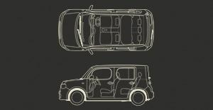 Схема кузова и салона Nissan Cube Z12